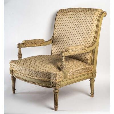 Maison Meynard et Fils – Adorable et élégant petit fauteuil coin de feu vers 1870 dans le style Louis XVI
