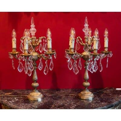Paire de girandoles bronze et cristal