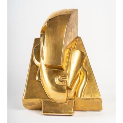 Tête en céramique dorée d'après Joseph CSAKY ( 1888- 1971 )