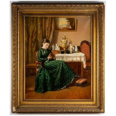 Pierre Emile Bernede (1830/1900 ) » Jeune fille à la lecture » 1880