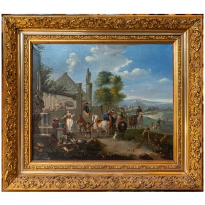 Scène de Fête au village «tableau Flamand XIXème «