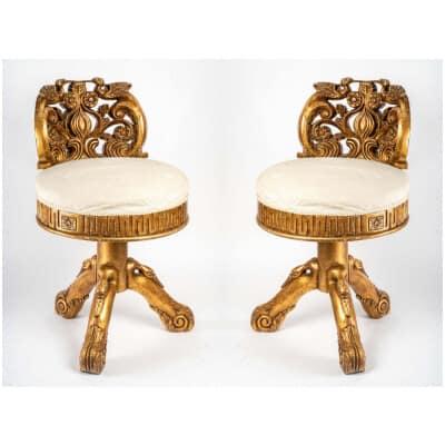 Paire de chaises de musicien ( début XXème )