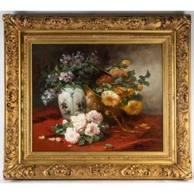 Henri Cauchois (1850 – 1911) : Nature morte aux bouquets de roses.