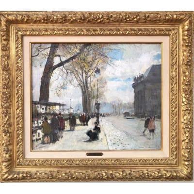 Herve Jules Tableau Impressionniste XXè Paris Les Bouquinistes En Hiver Huile Signée