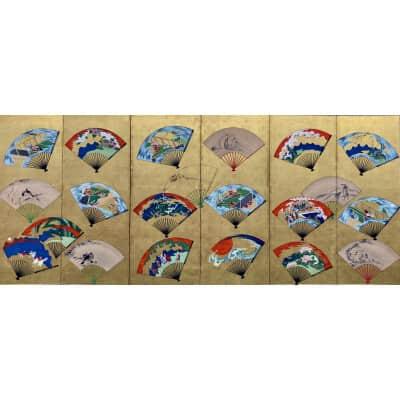 Paravent japonais à 6 panneaux sur feuille d'or et éventails