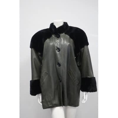 manteau Yves Saint Laurent cuir et fourrure
