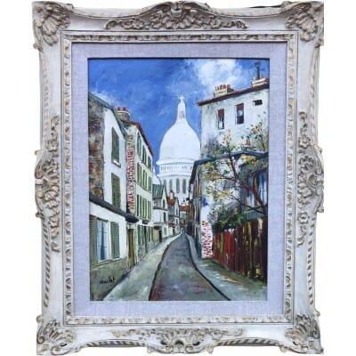 MACLET Elisée Peinture 20è école Française Paris Vue De Montmartre Le Sacré Coeur Huile Signée