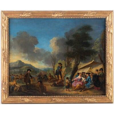 Jacques-Sébastien Le Clerc huile sur toile Scène de vie dans un campement au XVIIIème siècle vers 1750-1760
