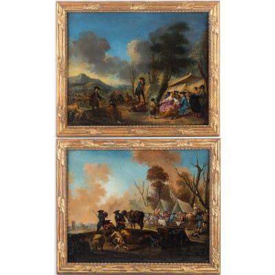 Jacques-Sébastien Le Clerc Paire d'huiles sur toile Scènes de vie dans un campement militaire au XVIIIème siècle