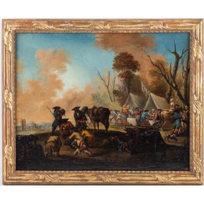 Jacques-Sébastien Le Clerc huile sur toile Scène de Campement Militaire au XVIIIème siècle vers 1750-1760