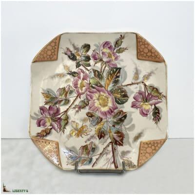Assiette carrée porcelaine de Roschütz, 23 cm x 23 cm, (Deb. XXe)