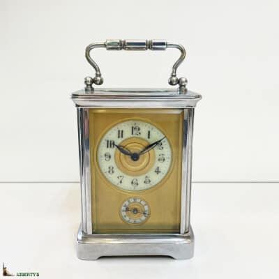 Pendulette cage bronze chromé avec réveil, haut. 11 cm, (Fin XIXe)