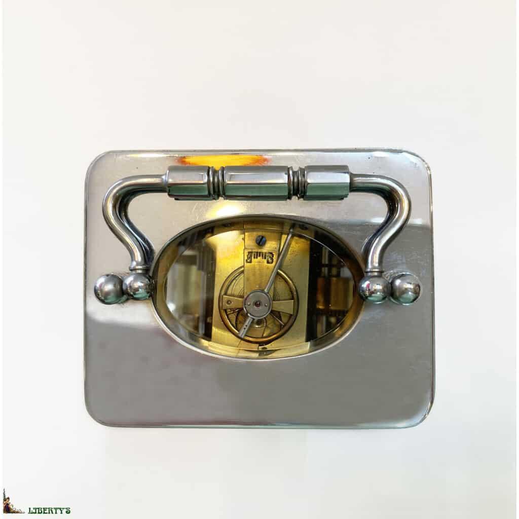 Pendulette cage bronze chromé avec réveil, haut. 11 cm, (Fin XIXe) - 2