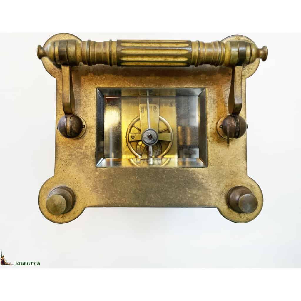 Pendulette de voyage cage bronze avec réveil, haut. 13 cm (Fin XIXe) - 2