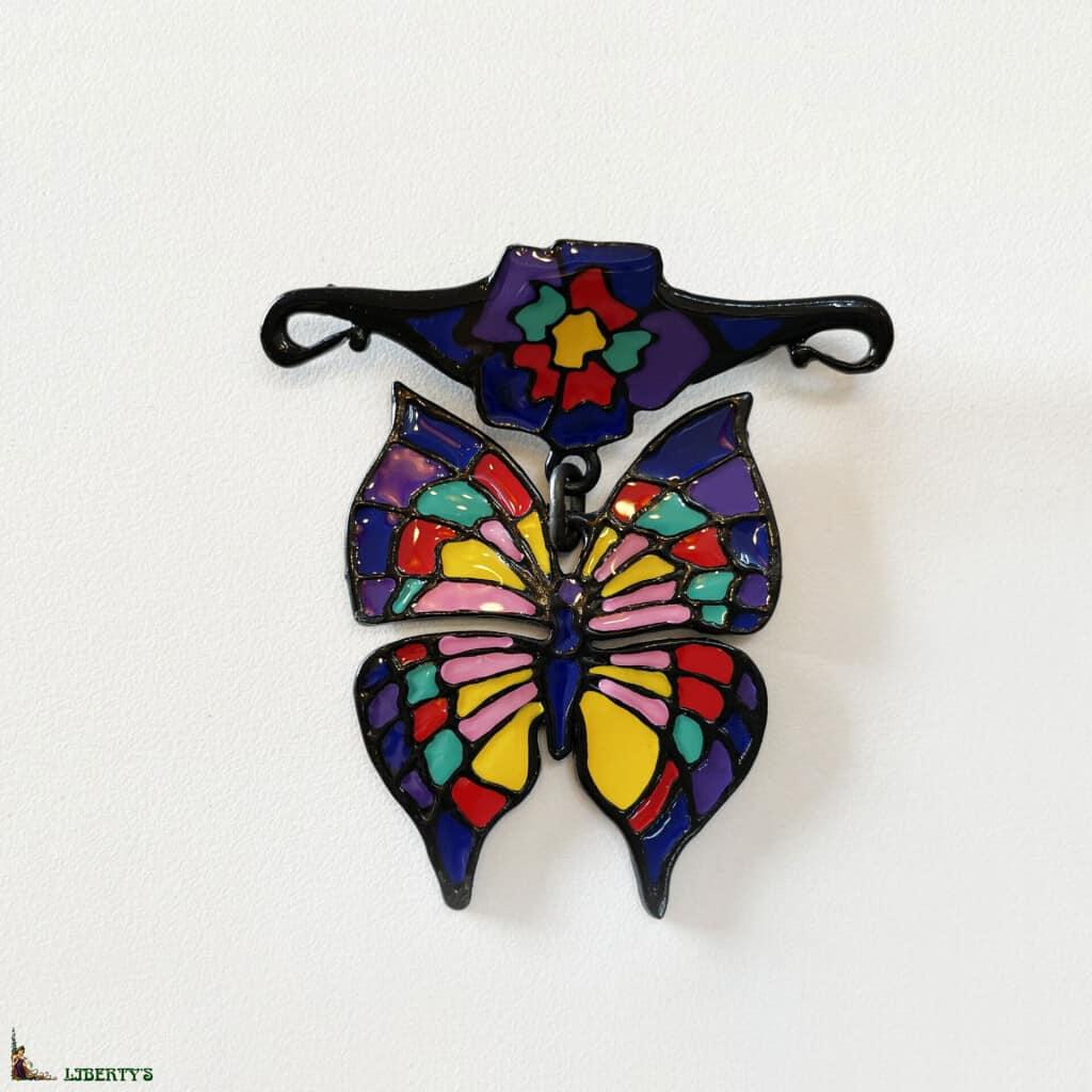 Broche pendentif noire émaillée papillon de Orchidée Noire, larg. 5 cm, (1980-1990)
