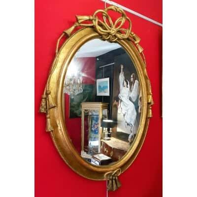 Miroir Italien Louis XVI – Décors De Passementerie – 19ème – Bois Stuc Doré