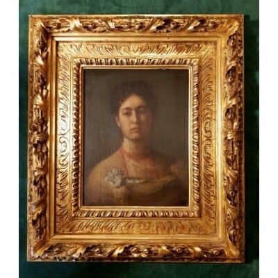 Huile Sur Toile – Simeon Buchbinder – Portrait Jeune Femme – 1851-1908