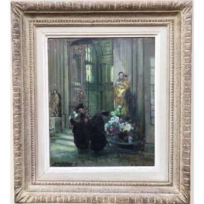 HERVE Jules René Tableau Impressionniste XXè Les bigotes à l'église à Langres Huile sur panneau Signée