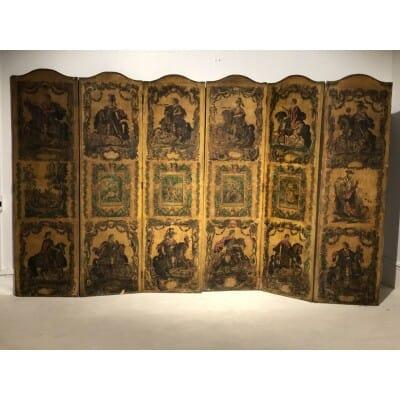 Très important paravent «arte povera» Italie milieu XVIIIème