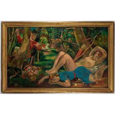André Planson Le Sommeil de Diane huile sur toile présentée au Salon des Indépendants de 1945