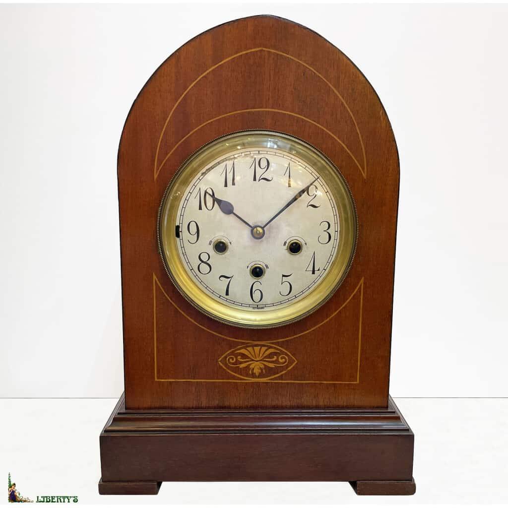 Carillon bois Art-Deco avec sonnerie son Westminster aux heures, demis et quarts de Junghans, haut. 39.5 cm, (Deb XXe)