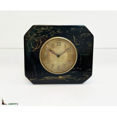 Pendulette de bureau Art-deco laquée, 9 cm x 8 cm, (Deb. XXe)