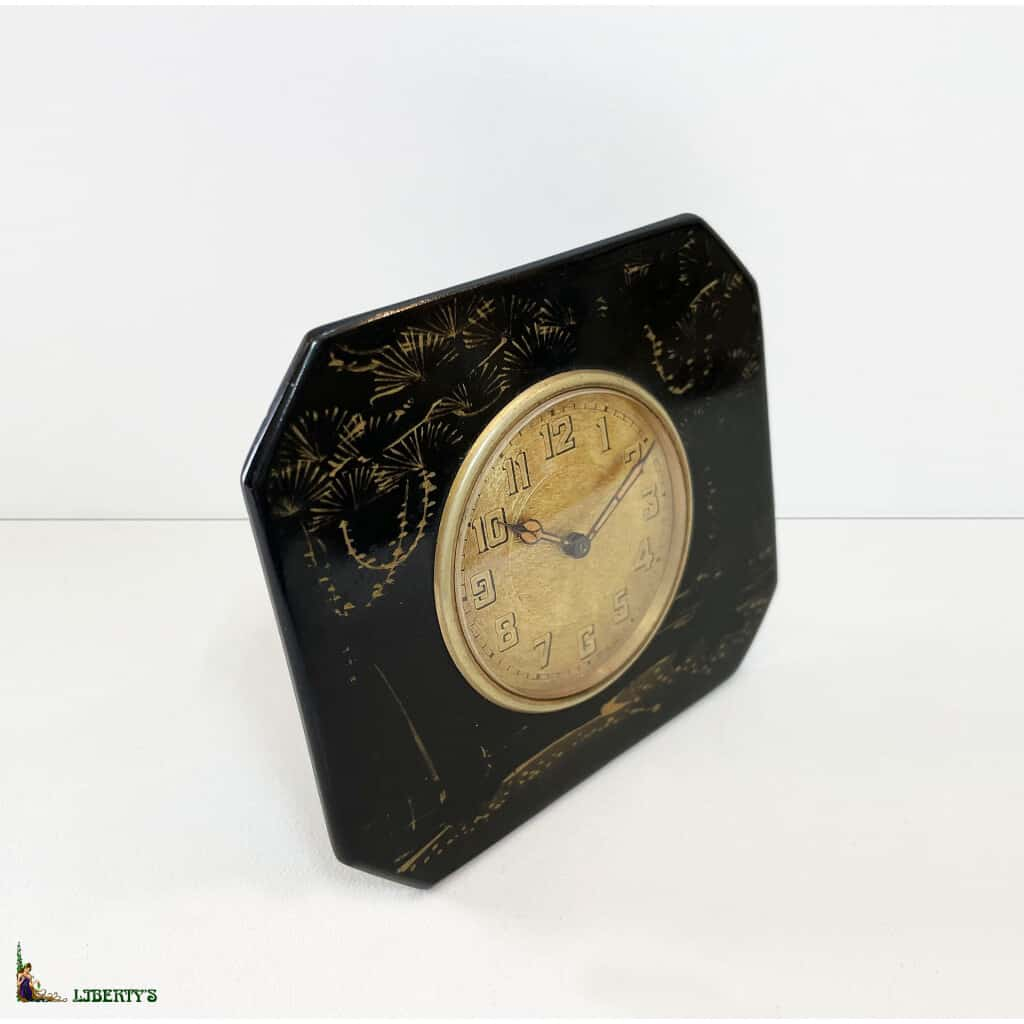 Pendulette de bureau Art-deco laquée, 9 cm x 8 cm, (Deb. XXe) - 2
