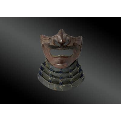 PROTECTION FACIALE appelée mempo Japon, Période Edo, XVIIIème Fer forgé, crin et laque