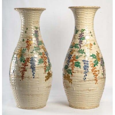 Paire de vase en céramique du Japon époque Meiji (1868 -1912)